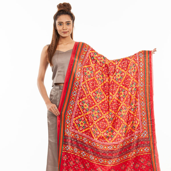 True Red Colour Artificial Mirror Work Gaji Dupatta