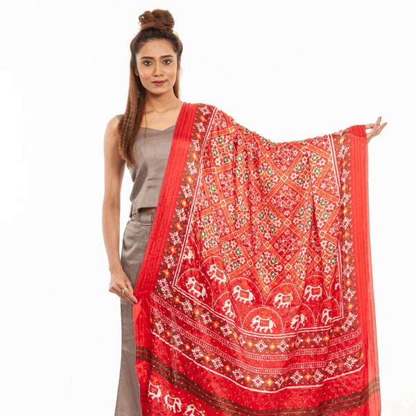 Poppy Red Colour Artificial Mirror Work Gaji Dupatta