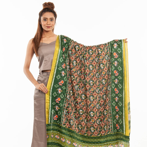 Green Colour Artificial Mirror Work Gaji Dupatta