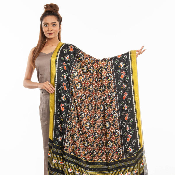 Black Colour Artificial Mirror Work Gaji Dupatta