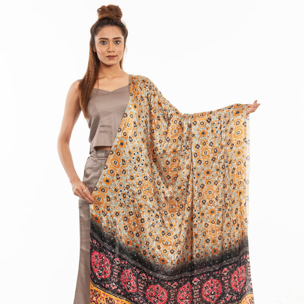 Olive Colour Artificial Mirror Work Gaji Dupatta
