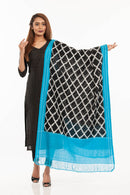 Black  Colour Ikat Handloom Cotton Dupatta