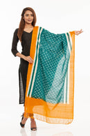 Green Colour Ikat Handloom Cotton Dupatta
