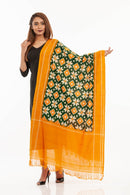 Bottle Green Colour Telia Rumal Handloom Ikat Cotton Dupatta