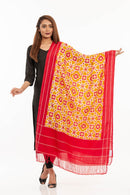 Mustard Colour Telia Rumal Handloom Ikat Cotton Dupatta