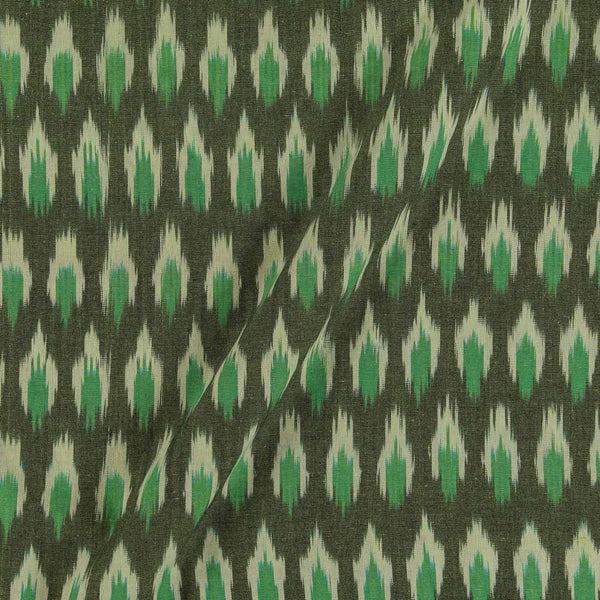 Cotton Ikat Dark Green Colour 43 inches Width Fabric