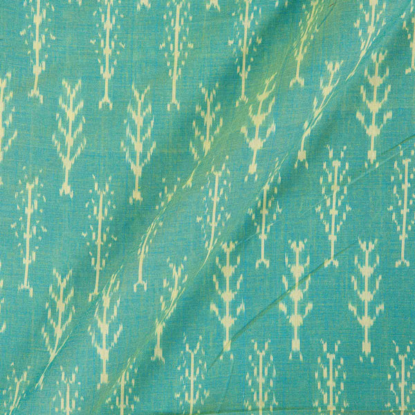 Mercerised Cotton Ikat Blue  And Green Two Tone Colour Fabric