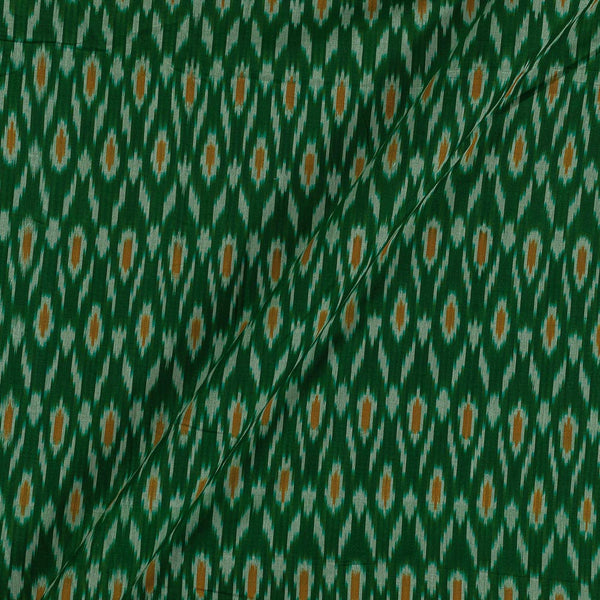Mercerised Cotton Ikat Bottle Green Colour Fabric