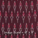 Mercerised Cotton Ikat Maroon Colour Fabric