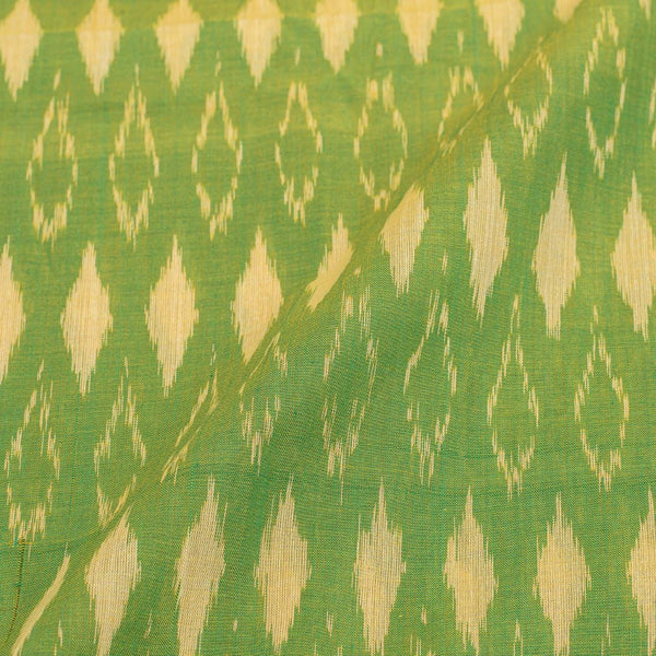 Parrrot Green Two Tone 43 inches width Mercerised Ikat Fabric