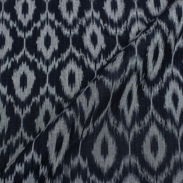 Midnight Blue Colour 46 inches width Mercerised Ikat Fabric