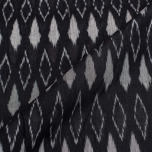 Black Colour 43 inches width Mercerised Ikat Fabric