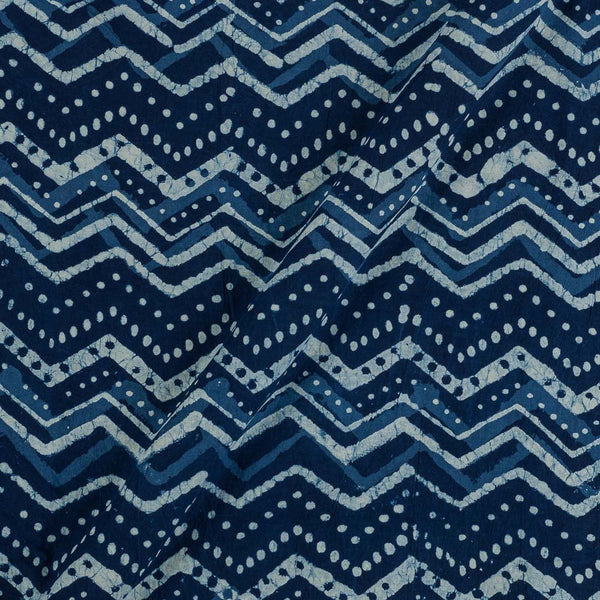 Cotton Indigo Colour Chevron Hand Block Print Fabric