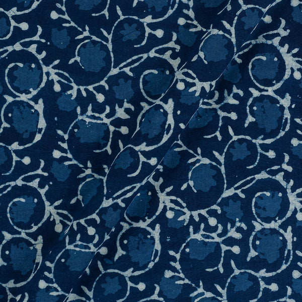 Cotton Indigo Colour Floral Jaal Hand Block Print Fabric