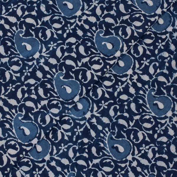 Indigo Colour Paisley Hand Block Print Cotton Fabric