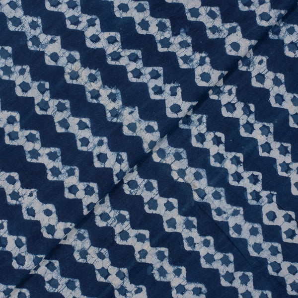 Indigo Colour Geometric Hand Block Print Cotton Fabric