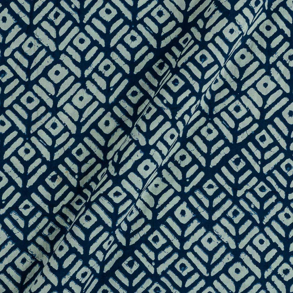 Cotton Indigo Blue Colour 43 Inches Wiidth Geometric Print Fabric
