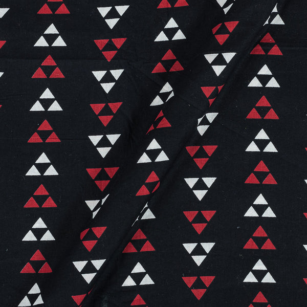 Soft Cotton Black Colour Geometric Print 42 Inches Width Fabric