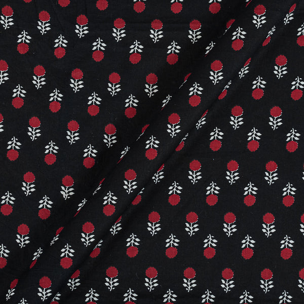 Soft Cotton Black Colour Floral Print 42 Inches Width Fabric