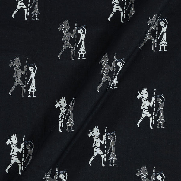 Soft Cotton Black Colour Quirky Print 42 Inches Width Fabric