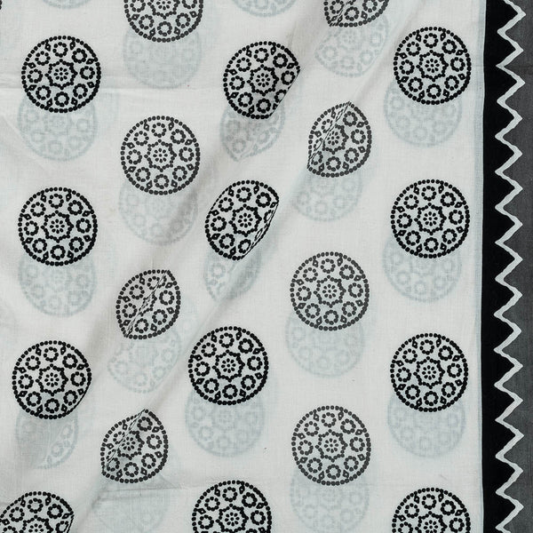 Soft Cotton Off White Colour Geometric Print 42 Inches Width Fabric