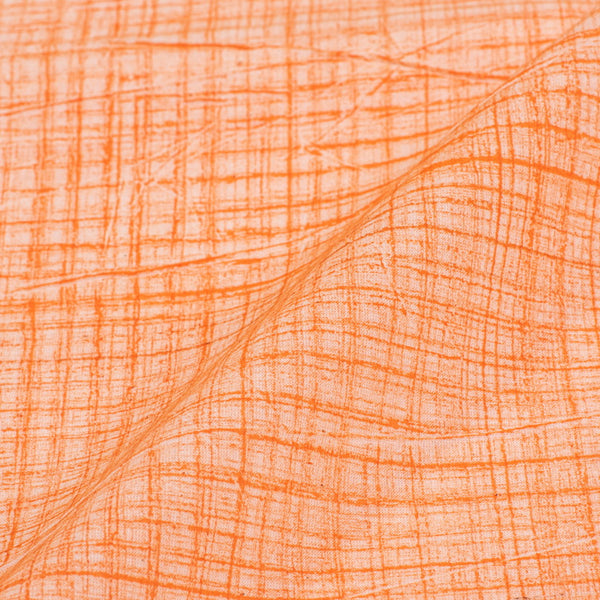 Pastel Orange Brush Print Cotton Fabric