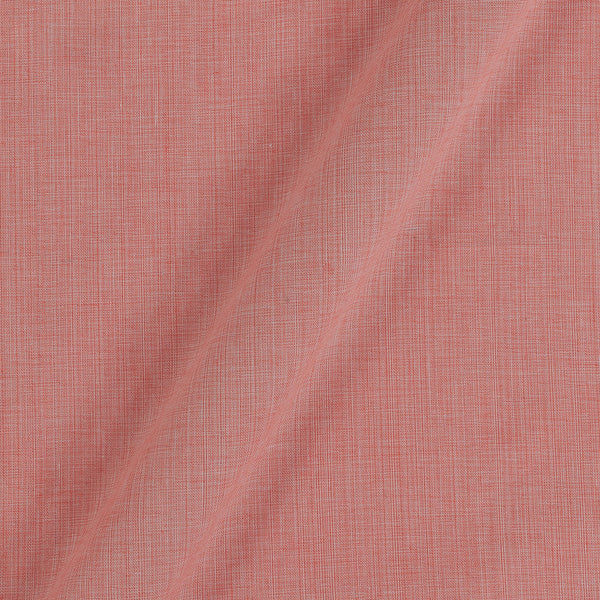 Two Ply Peach Pink 43 Inches Width Handloom Cotton Fabric