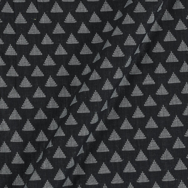 Cotton Self Jacquard Black Colour 42 Inches Width Washed Geometirc Fabric