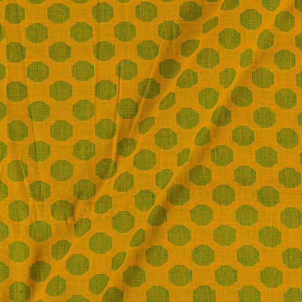 Cotton Self Jacquard Golden Yellow Colour Washed Fabric