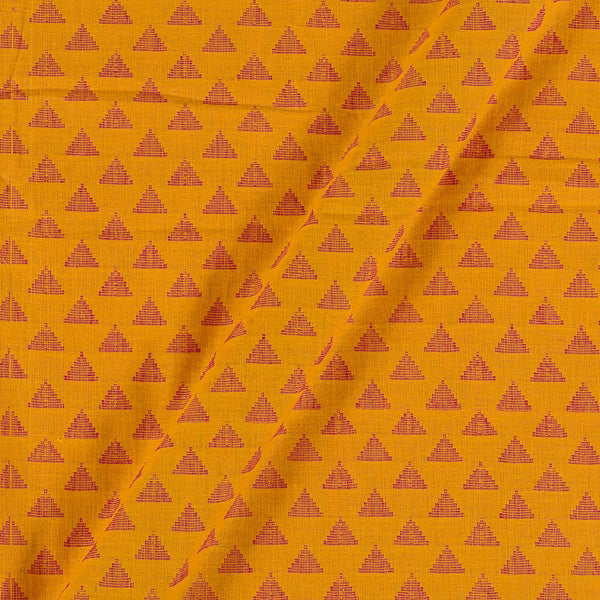 Cotton Self Jacquard Yellow Colour Washed Fabric