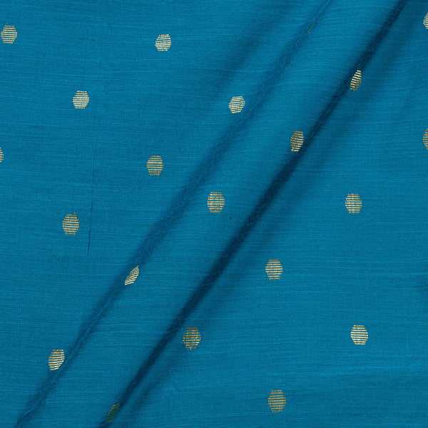 Spun Dupion Cyan Blue Colour Golden Butta Fabric