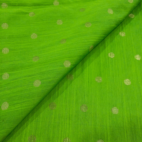 Green Colour Golden Butta Spun Dupion Fabric