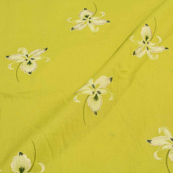 Lime Green Colour Floral Foil Print Cotton Fabric
