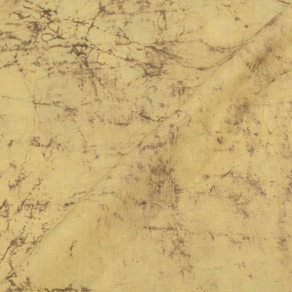 Pale Yellow Color Marble Effect Dabu Cotton Fabric 42 Inches Width