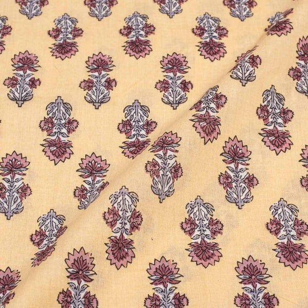 Beige Colour Floral Print 43 inches Width Soft Cotton Fabric
