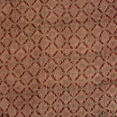 Beige Colour Ajarakh Hand Block Print Muslin Dobby Fabric Pre Cut Of 2.35 Meter