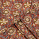 Carrot Colour Ajarakh Hand Block Print Muslin Dobby Fabric Pre Cut Of 2.40 Meter