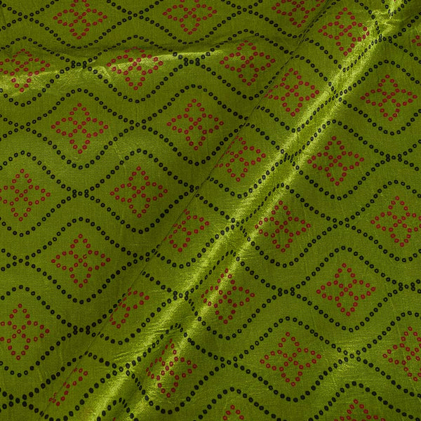 Gaji Parrot Green Colour 45 inches Width Geometric Print Fabric