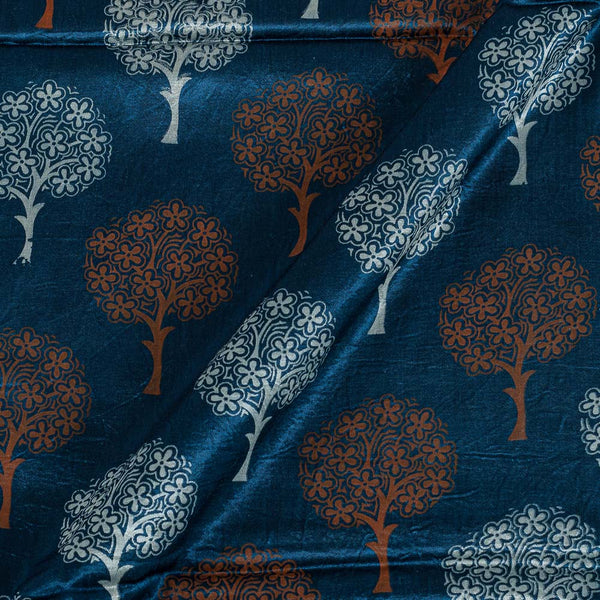 Gaji Teal Blue Colour 45 inches Width Tree Motif Print Fabric