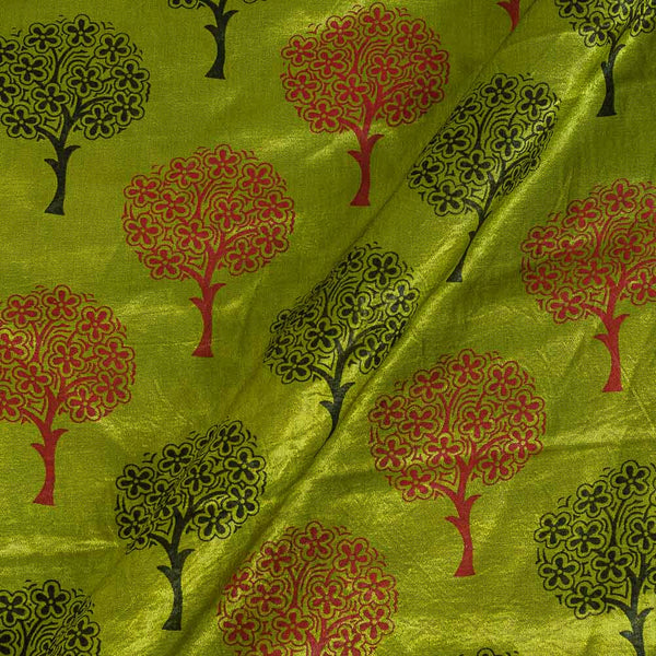 Gaji Parrot Green Colour 45 inches Width Tree Motif Print Fabric