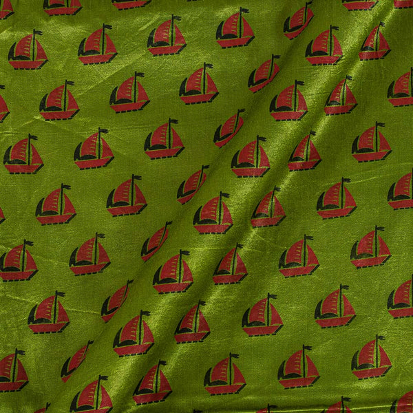 Gaji Parrot Green Colour 45 inches Width Quirky Print Fabric