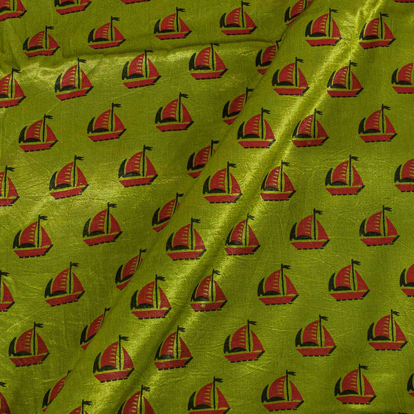 Gaji Acid Green Colour 45 inches Width Quirky Print Fabric
