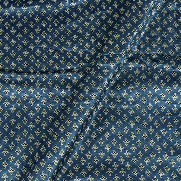 Gaji Hand Block Print Steel Blue Colour Floral Small Butti Fabric