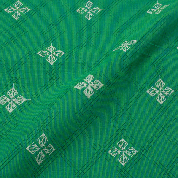 Green and Sky Blue Mix Tone Colour Checks Print South Slub Cotton Fabric