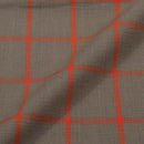 Slub Cotton Ecru Colour 43 inches Width Checks  Fabric