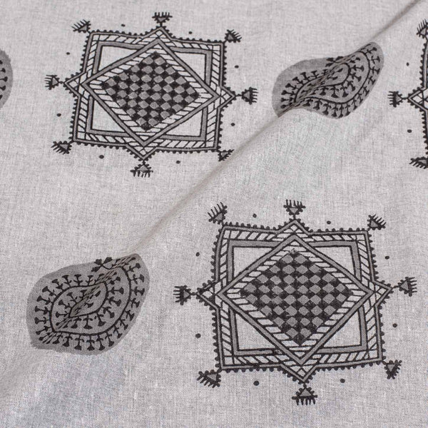 Dove Grey Colour Geometric Print Flex  Cotton Fabric 41 inches Width