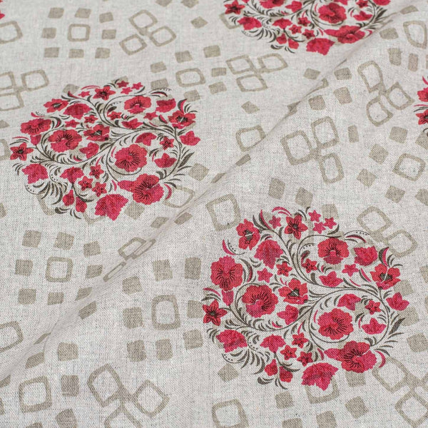 Dove Grey Colour Floral Print Flex  Cotton Fabric 41 inches Width