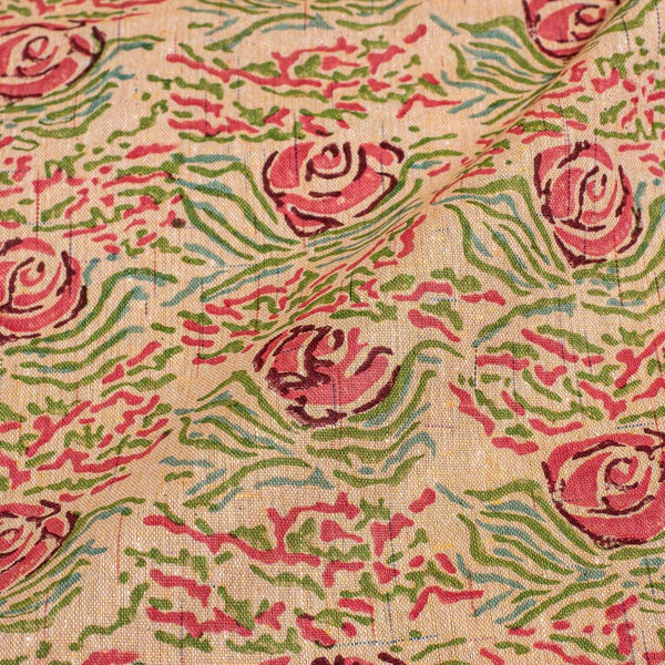Butterscotch Colour Floral Jaal Print Flex  Cotton Fabric 42 inches Width