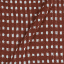 Handloom Cotton Brick Colour Double Ikat Fabric