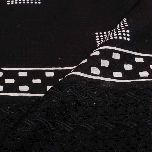 Black Colour Geometric Block Print Chikan Inspired Machine Embroidered Daman Cotton Fabric